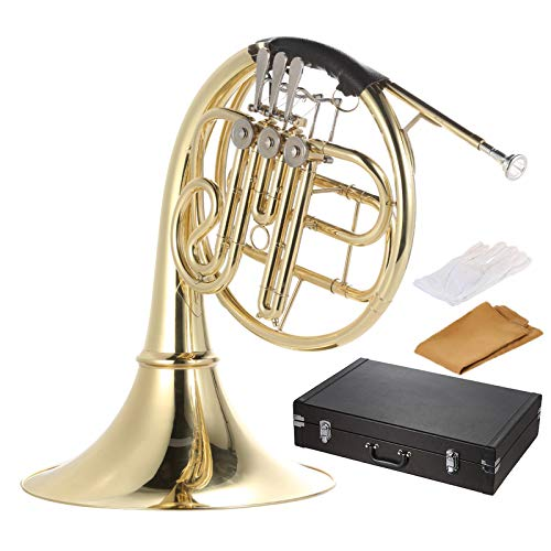 Muslady French Horn B/BB Flat 3 Key Brass Gold Lacquer Single-Row Split Wind...