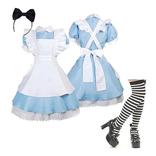 Alicia en el país de Las Maravillas Cosplay Maid Dress Lolita Disfraces Vestido de Cuento de Hadas Traje de Fiesta de Halloween
