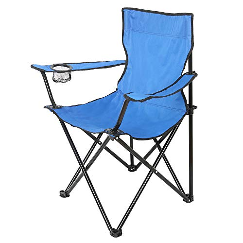 Edaygo Campingstuhl Faltbar, Klappstuhl Gartenstuhl, Belastbar bis 100 kg, Sitzhöhe 40 cm, mit Getränkehalter & Tasche, Leicht, 80 x 50 x 47 cm, Blau