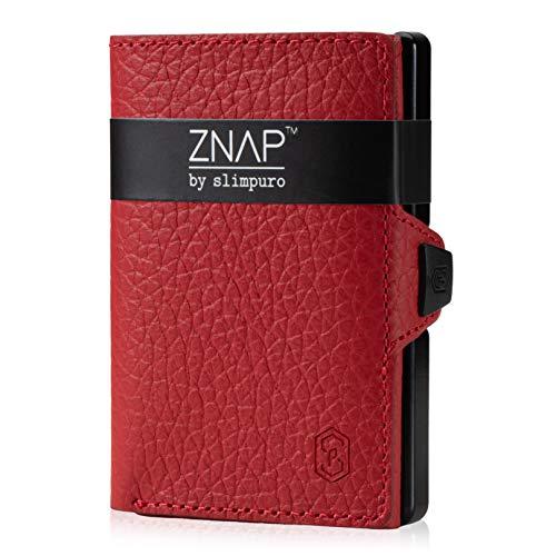 Cartera pequeña ZNAP para hombre – Monedero para hombre – Tarjetero de aluminio con compartimento para monedas y protección RFID – Piel roja granulada – 4 – 8 tarjetas – Mini Wallet de Slimpuro