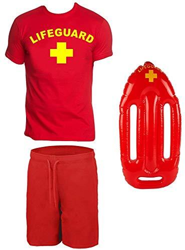 Coole-Fun-T-Shirts Lifeguard Schwimmboje Kostüm Rettungsschwimmer 3 teilig Set T-Shirt Badehose ROT Gr.M