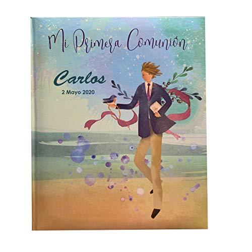 Libro de comunión para firmas, Recuerdos y Fotos. Libro de firmas comunión Personalizado Impreso con Nombre y Fecha. Acuarela niño