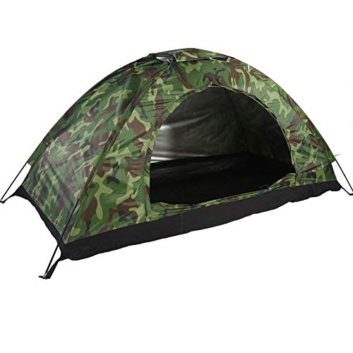 MAGT Camping Tent-Waterproof One Person Tent- Outdoor Camouflage UV Protection For Camping Hiking (200 * 100 * 100 Cm) (Color : Green)
