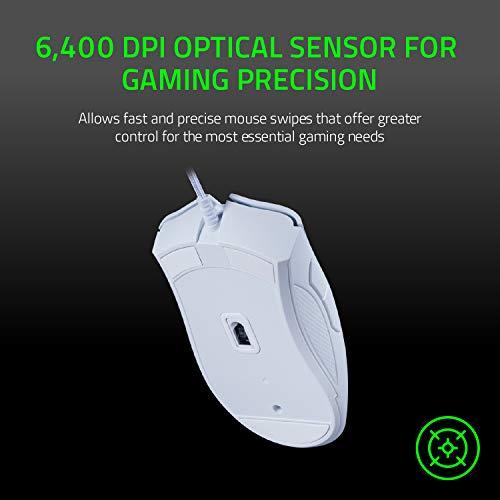Razer DeathAdder Essential Gaming-Maus, 6400 DPI, optischer Sensor, 5 programmierbare Tasten, mechanische Schalter, gummierte Griffe, Weiß