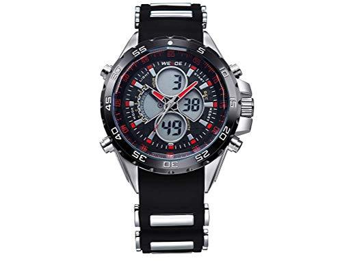 CursOnline - Elegante Reloj de Pulsera para Hombre Weide WH-1103R, Doble Hora analógica y Digital, LED y Cuarzo, Correa de Caucho Suave, Resistente al Agua, luz LED, Alarma y Fecha. Color Rojo.