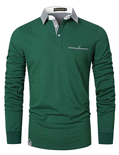 GHYUGR Polo Hombre Manga Larga Camiseta Deporte Clásico Elegante Cuadros Cuello T-Shirt,Verde,L