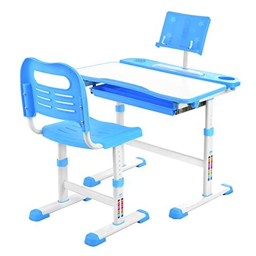 Kinder Schreibtisch und Stuhl Set, höhenverstellbarer Schreibtisch, mit Tilt Desktop zum Malen, Schul- und Heimkinder-Studiertisch, Bücherständer und Aufbewahrungsschublade (blau)
