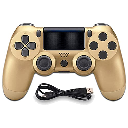Molgegk Wireless Controllers Compatible with Play-station 4, Replacement For PS4 controller DoubleShock 4 Joystick Remote Gamepad with Charging Cable(Gold)
