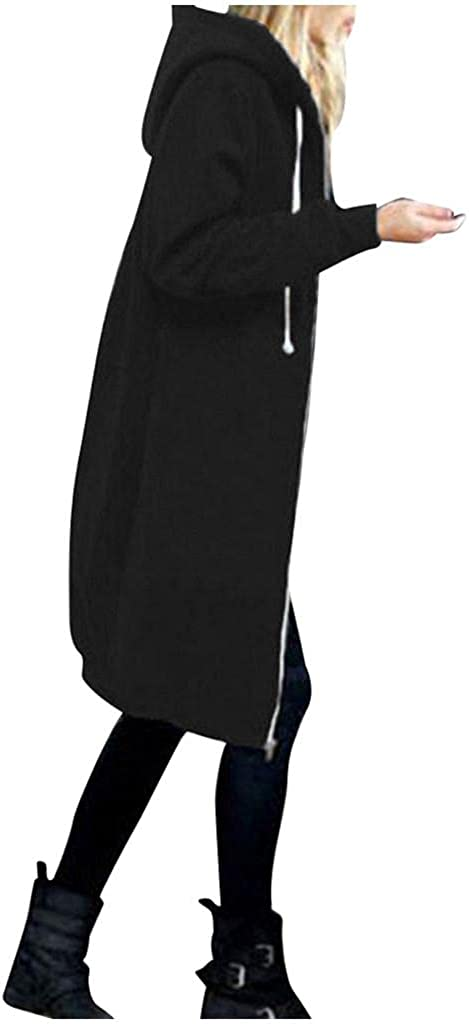 Toeava Women's Casual Zipper Hoodies Long Tunic Sweatshirts Jackets Coat Fashion Plus Size Hoodie with Pockets S-5XL