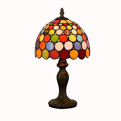 ShiSyan Lámpara de Mesa Creativa Europea Punto de la Onda del vitral Sala Comedor Dormitorio de Noche lámpara de Mesa Festivo Rojo Lámparas Regalo Lámparas de Mesa Lámparas de Escritorio