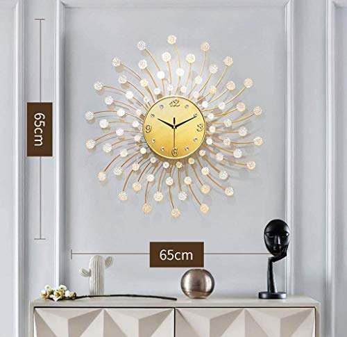 AISHANG Reloj de pared de hierro forjado, moderno para decoración del hogar, reloj de diamante, apto para sala de estar, entrada, 65 x 65 cm