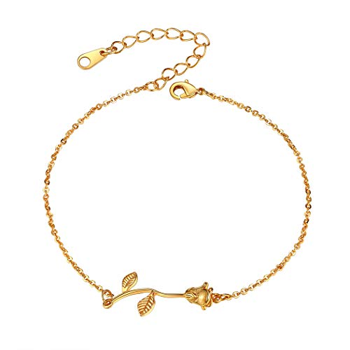 Suplight Gold Plated Rose Flower Link Anklet Summer Beach Jewelry Dainty Foot Chain Ankel Bracelet for Women Girls