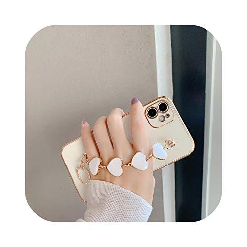 Carcasa para iPhone X, chapado en oro galvanizado con forma de corazón para iPhone 7, 12, 11, Pro Max 8 Plus, XS XR SE 2020, corazón blanco para iPhone X.
