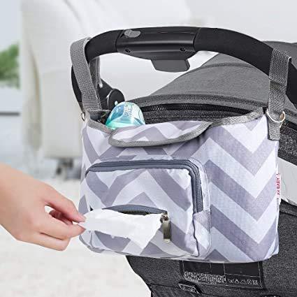 Bolsa Organizador Almacenamiento de Cochecito de Bebé Multifuncional,Bolsa para Pañales,Soporte para Carro de Bebé con Velcro,Gran Espacio de Almacenamiento,ImpermeableBaobë