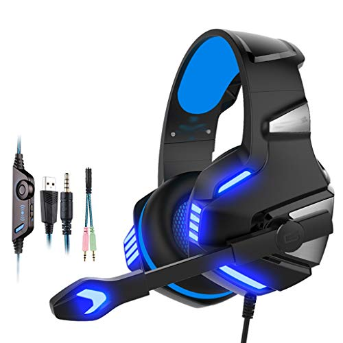 Stereo Gaming Headset voor PS4, Xbox One, Nintendo Switch, PC, PS3, Mac, Laptop, Over Ear Hoofdtelefoon PS4 Headset Xbox One Headset met Surround Sound, LED Licht & Ruisonderdrukking Microfoon