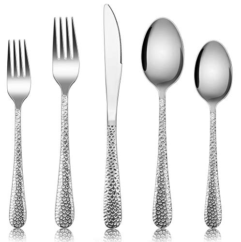 Silverware Set for 12, E-far 60-Piece Hammered Flatware Cutlery Set, Stainless Steel Eating Utensils for Kitchen Hotel Restaurant Party, Modern Design & Mirror Finished - Dishwasher Safe