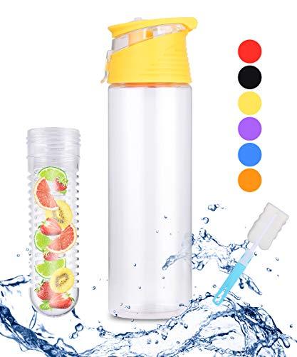 WELLWATCH Yellow Fruit Infusing Water Bottle Leakproof Sport Water Bottle with Fruit Infuser and Flip Lid Cap Reusable Travel Juice Water Bottles(with Brush)-BPA Free