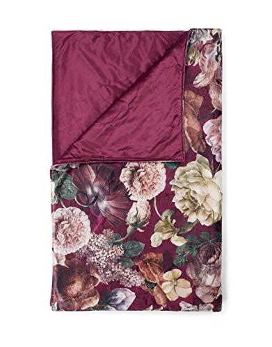 ESSENZA Plaid Claire Blumen Pfingstrosen Tulpen Polyester Cherry, 135x170 cm
