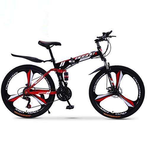 ZTYD Mountain Bike Bicicletta Pieghevole, 21-velocità Doppio Freno a Disco Sospensione Totale Anti-Slip, variabili off-Road Moto Racing Speed per Uomini e Donne,A1,26 inch