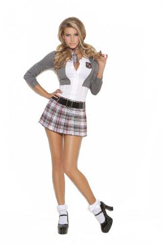 Elegant Moments Sexy Schoolgirl Costume, Grey/White/Plaid, Large