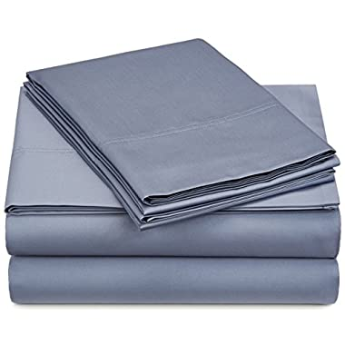 Pinzon 500-Thread-Count Pima Cotton Sateen Sheet Set - Queen, Flint Blue