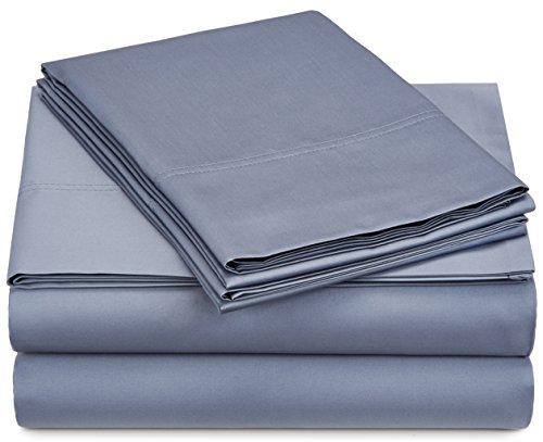 Pinzon 500-Thread-Count Pima Cotton Sateen Bed Sheet Set -King, Flint Blue