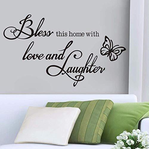 % Segne Dieses Zuhause Zitat Vinyl Wandtattoo Aufkleber Gott Jesus Bibel Religiöse Christliche Schlafzimmer Wohnkultur Schmetterling Wohnzimmer51 * 30Cm