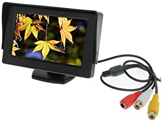 ZJJUN Electronics Video Audio 4.3 inch Car Color Monitor with Adjustable Angle Holder & Universal Sunshade, Dual Video Inp...
