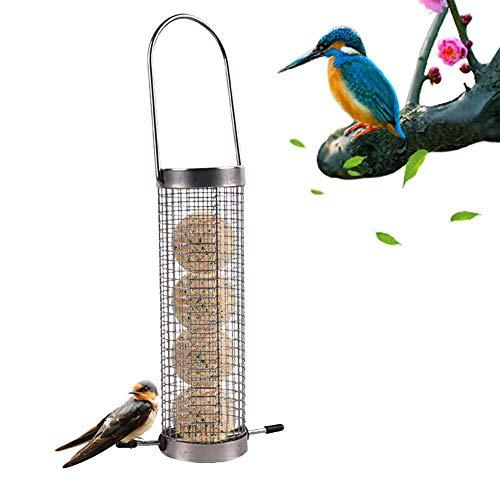 Vogelfutterspender zum aufhängen für vögel wildvögel Garten vogelfütterer Automatic Metall Vogelfutterautomat Tragbar Vogelkäfig