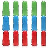 15 Pcs Antideslizantes Flexible Dedales de Goma 3 Tallas para Costura y Recuento de Dinero Reutilizable Protector de Dedo de Silicona para Pistola de Pegamento Caliente (3 Colores)