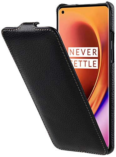 StilGut UltraSlim entwickelt für OnePlus 8 Hülle aus Leder - OnePlus 8 Flip Hülle, Klapphülle, Handyhülle, Lederhülle - Schwarz
