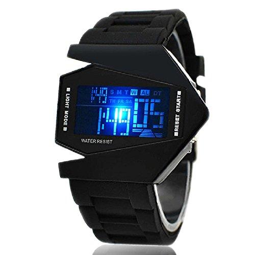 Herrn Sport Digital Armbanduhr Alarm Kalender Chronograph LED LCD Silikon Band Schwarz