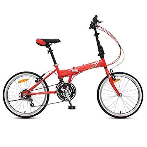 Compact urban bike, 21-speed zoom 20-inch commuter Lightweight folding bike Shock absorption for men, women, easily foldable leisure bike (Color : Red)