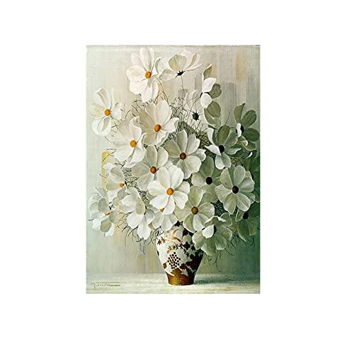 Cartel de flores vintage Flores blancas Pintura en lienzo Imágenes artísticas de pared para la sala de estar Decoración del hogar Diseño Modular 40X60cm Marco