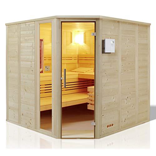 Unbekannt Infraworld Sauna Urban Complete Massivholz 209 x 209 cm nordische Fichte 391034