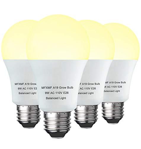 4 Pack LED Grow Light Bulb A19 Bulb, Full Spectrum Plant Light Bulb, 9W E26 Grow Bulb Replace up to 100W, Grow Light for Indoor Plants, Flowers,...