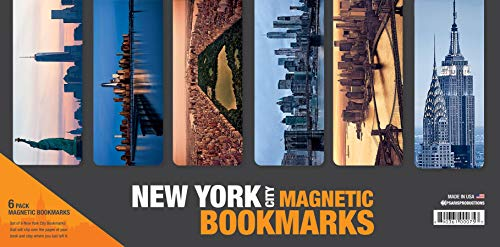 Psaris Productions Set Of 6 Large New York Magnetic Bookmarks With 'Soft Touch' Silky Smooth Coating #2. Made In USA