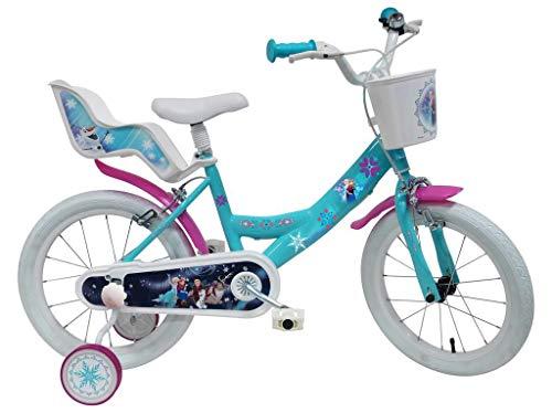 Bicicletta DISNEY FROZEN II - misura 16'' - rotelle e freno anteriore / posteriore - colore azzurro / rosa
