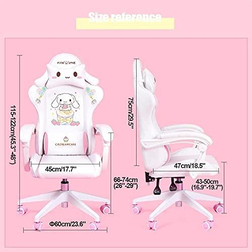 Pink und Weiß Home Gaming Stuhl Computer Stuhl mit Rückenlehne Multifunktional Verstellbar und Zurücklehnen Ergonomisch Kopf und Lendenwirbelstütze B
