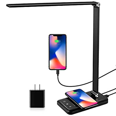 LED Desk Lamp with Wireless Charger, USB Charging Port, Modern Eye-Caring Desk Lamps for Home Office, 5 Lighting Modes and 10 Brightness Levels, Bright Table Light with Touch Control, 30/60 Mins Timer by EASTAR