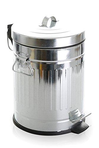 BINO Stainless Steel 1.3 Gallon / 5 Liter Round Oscar Step Trash Can, Galvanized Steel