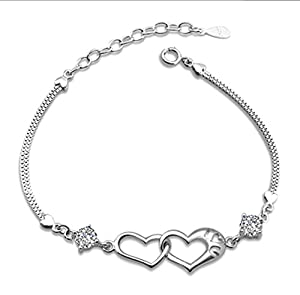 Private Twinkle 925 Sterling Silver Interlocking Heart Chain Bracelet Made with Shiny White Zirconia for Women Girls