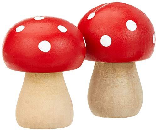 GLOREX 6 7035 723 Holzpilz, rund, 4,5x3cm 2St Schima Holz, Mehrfarbig, One Size