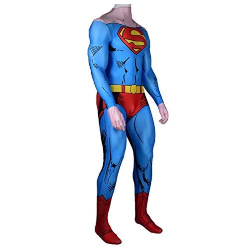 MODRYER Los Aficionados Disfraces Cosplay Superman Azul superhéroes Bodies Anime Manga Ropa Niños Rendimiento Apretado Traje Mono Conjunto Morph Ropa Vestir, Without Cloak-Kids/L 135~145cm