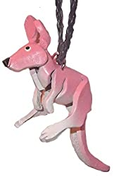 Leather Pink Kangaroo - Hanging Necklace Charm For Automobile