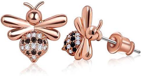 ZRO 1 Pair Bee EarringsforWomen and Girls with a Gift Box, Stainless Steel Stud Earrings AAA Zirconia Chic Bee Jewelry Fashion Earrings