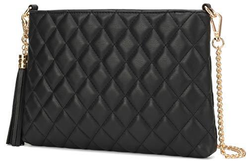 Lola Mae Einfache gesteppte Crossbody-Tasche, leichte Handgelenk-Schultertasche., Schwarz (Schwarz Fba7606), Medium