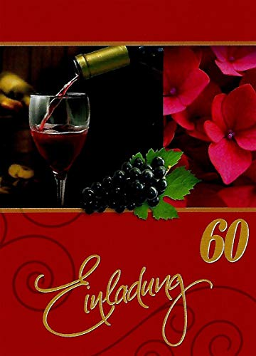 Uitnodigingskaarten 60e verjaardag vrouw man met binnentekst motief rode wijn 10 gevouwen kaarten DIN A6 staand met witte enveloppen in set verjaardagskaarten uitnodiging 60 verjaardag man vrouw K145