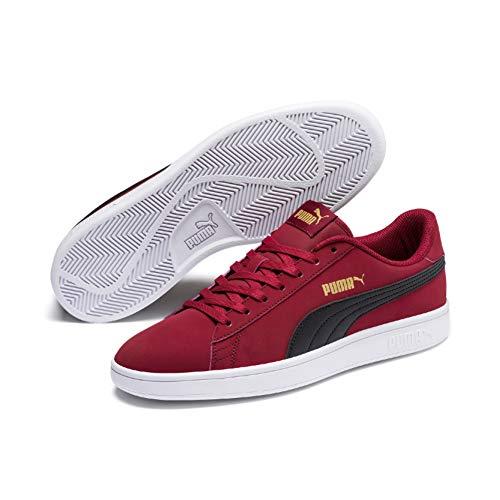 PUMA Smash v2 Buck Low Boot Sneaker Rot-Schwarz-Gold-Weiss