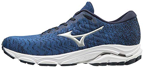 Mizuno Men's Wave Inspire 16 WAVEKNIT Road Running Shoe, Skydiver-Silver, 12 D US